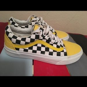 black checkered vans with yellow